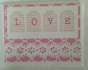 "Handmade Pink and White Lacy ""Love"" Stamped Valentine Card"