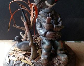 Wood duck duck Hunter, sculpture, mixed media, diorama, ONLY ONE.  Don Reardon
