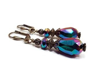 AB Metallic Earrings, Crystal Teardrop Earrings, Antiqued Brass, Colorful Earrings, Dangle Drop Earrings, Clip on Earrings Lever Back Hook