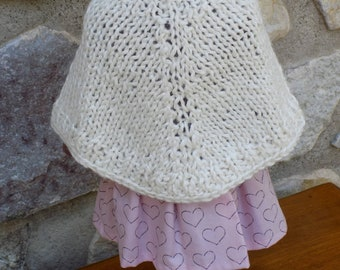 "Doll Poncho - Fits American Girl Doll & 18"" Dolls - Hand Knit Poncho - Alpaca Blend - Creamy Color - Gift under 10 - Organza Gift Bag"