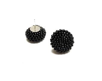 Crochet Earrings • Beaded earrings • Button earrings • Black earrings • Stud earrings • Christmas gift • Christmas gift