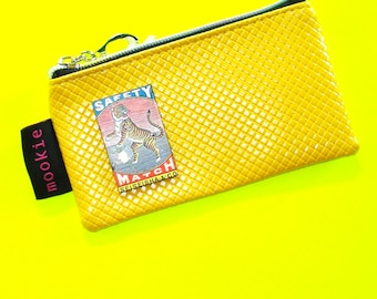 Wild Tiger Safety Mustard Yellow Vintage Matchbook Cover Blue Zippered Pouch Coin Purse Cosmetics Bag