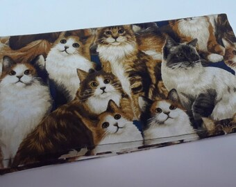 Cat Breeds Checkbook Cover Coupon Holder Clutch Purse Billfold Ready-Made