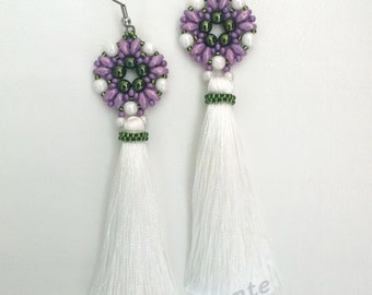 Fringe party earrings, fair fringe earrings, long earrings, flamenco earrings