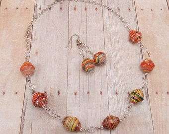 Paper Bead Necklace and Earring Set - African Paper Beads - Red Stripes with Clear Glass Beads - Nickel Tone Silver