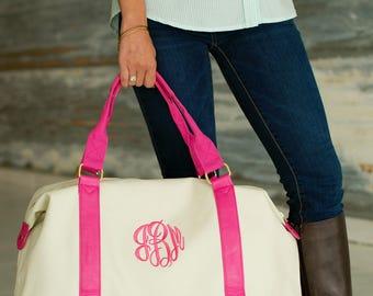 Monogrammed Weekend Bag Luggage Tote Overnight Duffel Canvas Monogram Weekender Sullivan Hot Pink