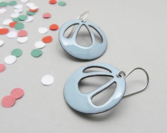 Light Blue Earrings with Sterling Silver Earwires - Enamel Jewelry in Pastel Colors - Summer Gift for her / Bell Flower