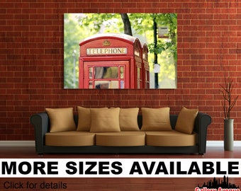 Wall Art Giclee Canvas Picture Print Gallery Wrap Ready to Hang London Telephone Booth England 60x40 48x32 36x24 24x16 18x12 3.2