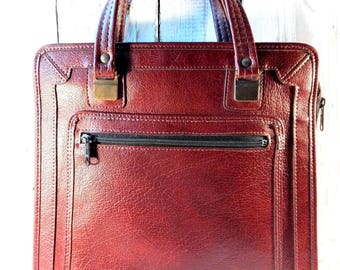 Vintage leather bags Brown leather bag Soviet Vintage bag Leather shoulder bag USSR bag Vintage fashion 1970 Retro gift for women