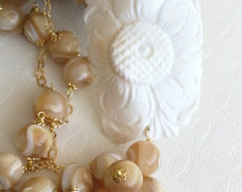Sardonic shell cameo necklace and Pearl, silver, Italian jewellery