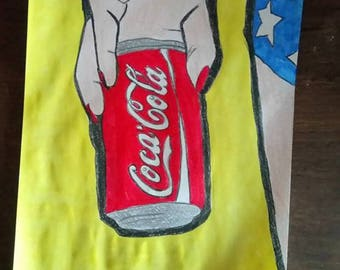 drawing of wonder woman and her can of coke