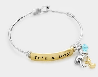 """Cute """"It's A Boy"""" Two-Tone Silver Charm Hook Bracelet, Two-Tone Silver-Tone Charm Hook Bracelet, Baby Shower Gift, Baby Shower Jewelry"""