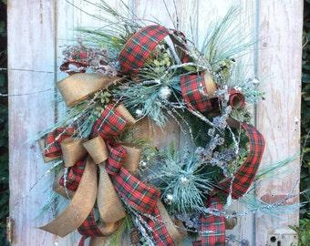 Christmas Wreath with snow,Natural Christmas Wreath,Classic Christmas Wreath,Christmas Front Door ,Burlap Christmas,Rustic Christmas Wreath