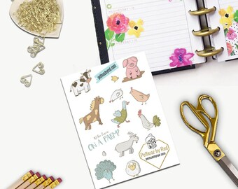 Farm Animals Stickers, All Happy Planner Stickers, Add On Set, Stickers, Printed, Cut, Functional Sticker, Any Planner, Country, chicken