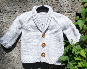 Baby Cardigan with Cable Detail - sweater, knitting pattern, PDF download