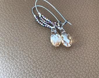 Teardrop Earrings, Titanium dangle Earrings Hypoallergenic Earring for Sensitive Ears Swarovski Crystal, Simple Jewelry, Unique Gift for her