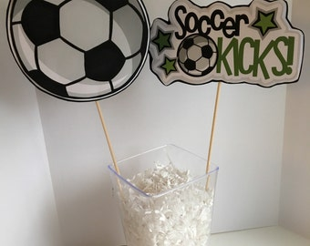 Birthday party centerpice, soccer party decorations, soccer centerpiece, soccer theme decorations, soccer theme party, soccer birthday