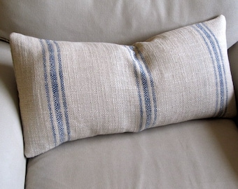 FRENCH LAUNDRY Grain Sack 12x25 pillow BLUE Stripes with insert