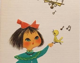 Vintage Birthday Card Little Girl Kitten Bird Midcentury NOS Unused