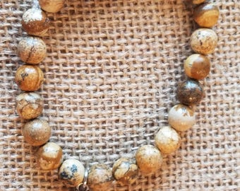 Trendy natural Honey Brown Agate Beads Bracelet with Hand of Fatima charm