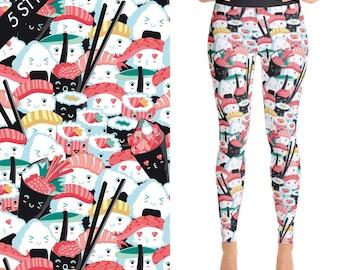 Sushi Leggings, Yoga Leggings, Yoga Pants, Sushi Lover Gift, Sushi Lover Gift for Women, Yoga Wear, Pants Printed, Kawaii Sushi, Yoga Shorts