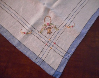 Vintage Hand Embroidered Linen Table Topper with Flower Baskets- Like new condition