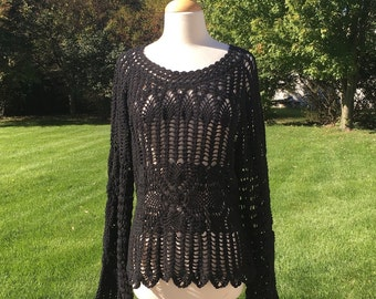 Vintage 70s Knitted Crochet Black Top