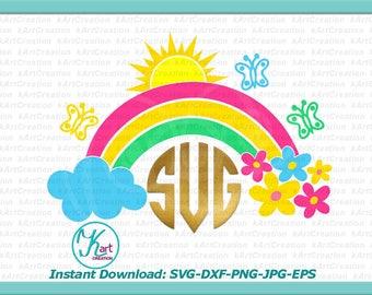 rainbow monogram svg, rainbow with clouds svg,  flowers svg, sun svg, butterflies svg, iron on printable, rainbow clipart, for cricut, dxf