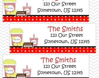 Movie Night - Personalized Address labels, Stickers, Baby Shower, Birthday