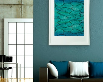 Poster Print 8x10 or 11x14 - Sea Waves Pattern - For Your Home Decor