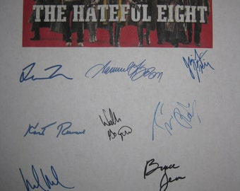 Hateful Eight Signed Film Movie Screenplay Script X8 Quentin Tarintino Samuel L. Jackson Kurt Russell Jennifer Jason Leigh Tim Roth Dern
