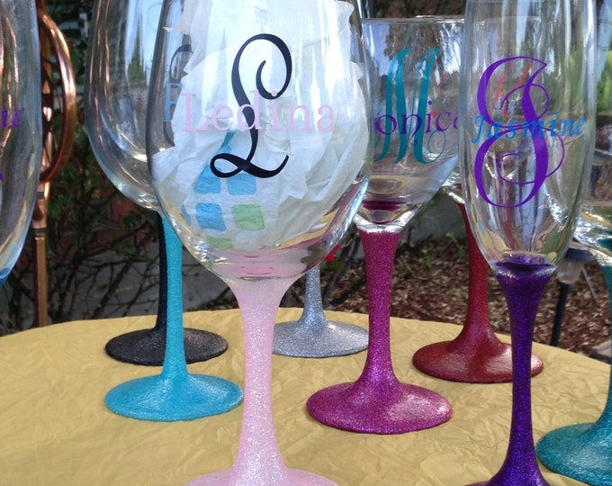 Personalized Glittered Stem White Wine Glass