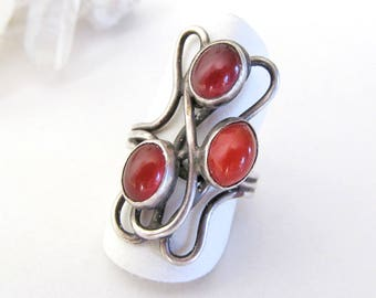 Modernist Abstract Silver Ring, Vintage Sterling Silver Statement Ring, Carnelian Ring, Avant Garde Jewelry, Ring Size 6, Orange Stone Ring