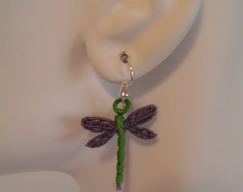 Dragonfly Lace Charm Earrings