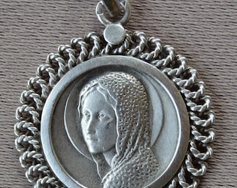 Our Lady - Virgin Mary Portrait- Antique French Sterling Silver Medal Pendant Charm - Religious Jewelry