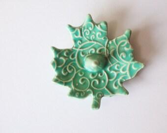 Ceramic Ring Holder Leaf - Glazed in Spa green