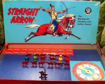 VINTAGE Board Game, STRAIGHT ARROW Western Cowboy & Indian Game by National Biscuit Company, 1950.