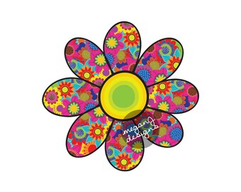 Flower Car Decal - Cute Daisy Colorful Floral Bumper Sticker Hippie Boho Laptop Decal Red Yellow Blue Hot Pink Lime Green Teal
