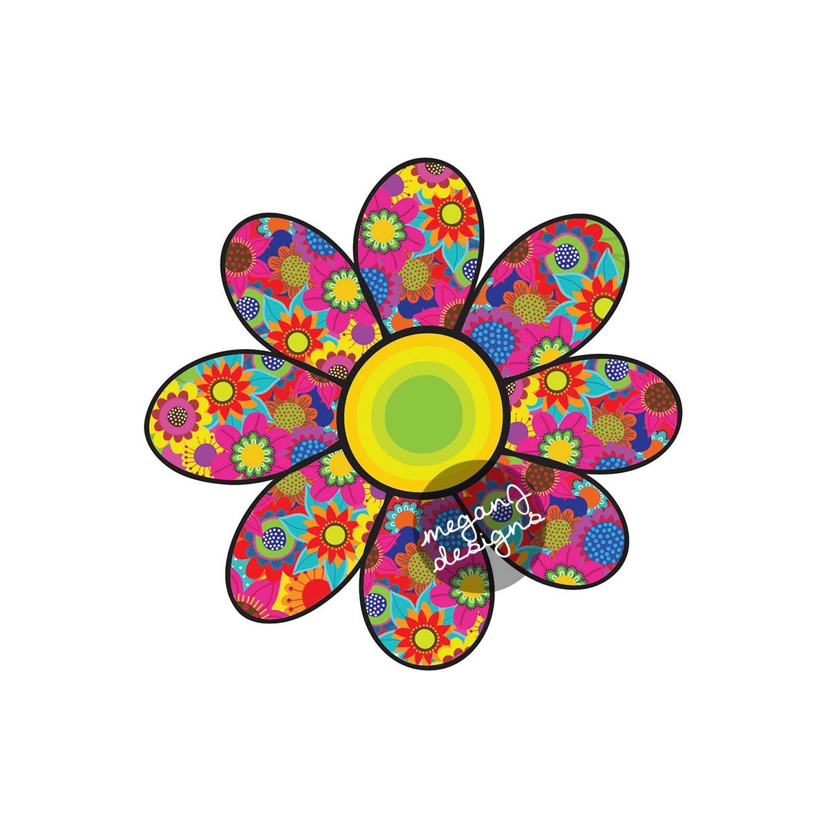 Flower car decal cute daisy colorful floral bumper sticker zoom izmirmasajfo Gallery
