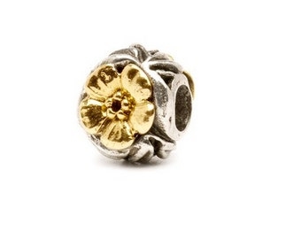 Flowers Bead, Silver and Gold, Authentic Trollbead