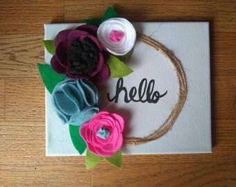 Hello felt flower canvas