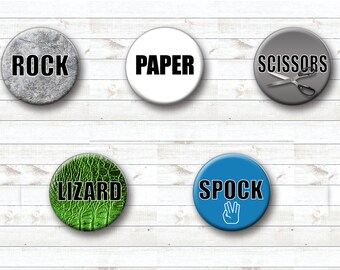 Magnet Set - Rock, Paper, Scissors, Lizard, Spock