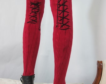Thigh High Leg Warmers Black Lace Up Corset Over the Knee Sock, Red Cable Knit A1362