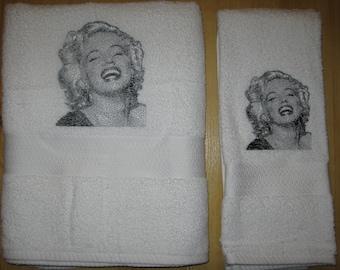 Bath & hand towel set with photo stitch Marilyn Monroe