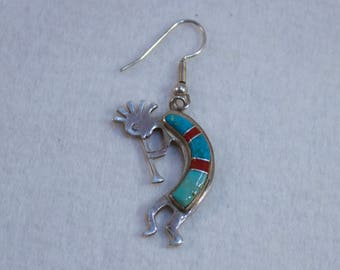 Vintage Kokopelli Sterling Turquoise and Coral Inlay
