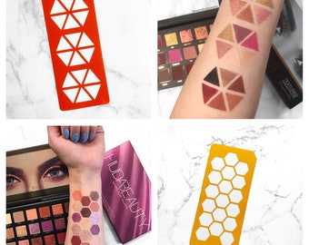 18 Section Makeup Swatch Stencil (Triangle Stencil, Honeycomb Stencil)