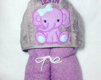 Elephant Hooded Towel, Personalized Hooded Towel, Kids Personalized Towel, Baby Elephant Towel, Girly Elephant Towel, Hooded Towel, Baby