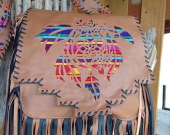 Southwestern dreamcatcher leather fringe crossbody bag purse