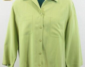 Lime Green 100% Silk Blouse by Nexx. Fall blouse, fall top, blue top, silk top, soft top, versatile top