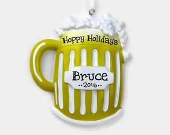 Beer Mug Personalized Ornament - Hoppy Holidays - 21st Birthday - Hand Personalized Christmas Ornament